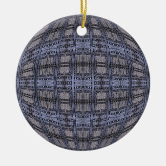 blue grey abstract Double-Sided ceramic round christmas ornament