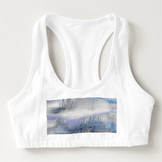 Blue Grey Abstract Sports Bra