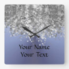 Blue grey and faux glitter square wall clock