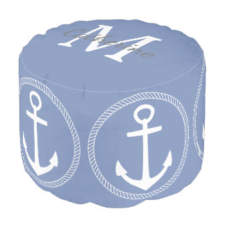 Blue Grey and White Anchor Monogram Pouf