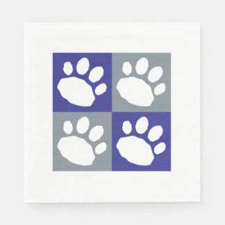 Blue, Grey, and White Animal Print Silhouette Paper Napkin