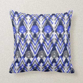 Blue Grey And White Aztec Throw Pillow