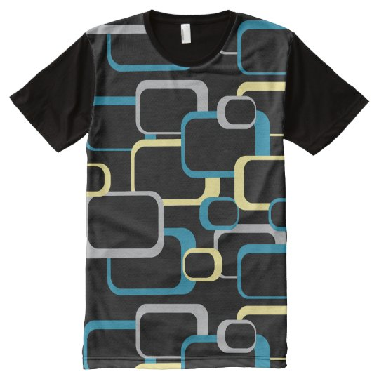 Blue Grey and Yellow Retro Squares Black All-Over-Print T-Shirt