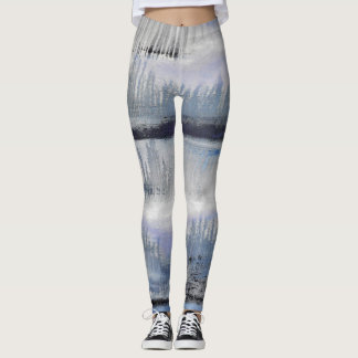 Blue Grey Black Abstract II Dance Leggings