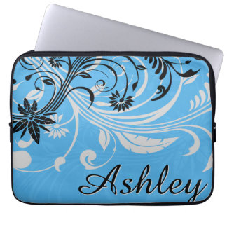 Blue Grey Black Floral Graphic Laptop Sleeve