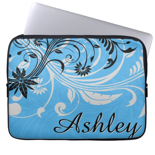 Blue Grey Black Floral Graphic Laptop Sleeve