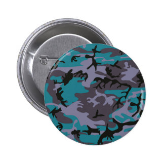 Blue grey camouflage design 2 inch round button