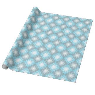 Blue Grey Checker Pattern White Mandala Wrapping Paper