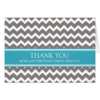 Blue Grey Chevron Birthday Party Thank You Card
