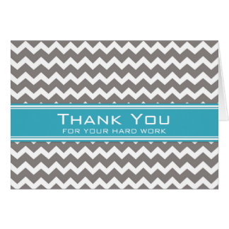 Blue Grey Chevron Employee Anniversary Card