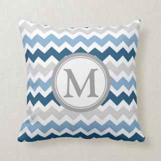 Blue Grey Chevron Monogram Decorative Pillow