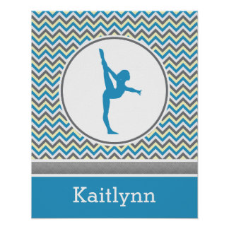 Blue / Grey Chevron Stripes Gymnastics w/ Monogram Poster