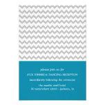 Blue & Grey Chevron Wedding Reception Cards