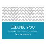 Blue & Grey Chevron Wedding Thank You Cards