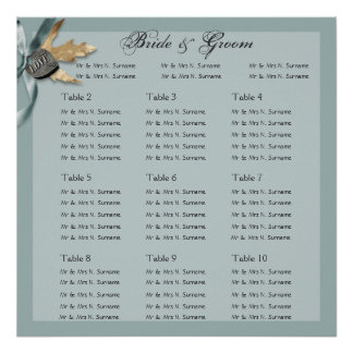 Blue grey country wedding engagement posters