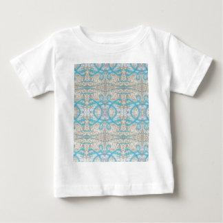 Blue Grey Curly Decorative Graffiti Wall Pattern Baby T-Shirt