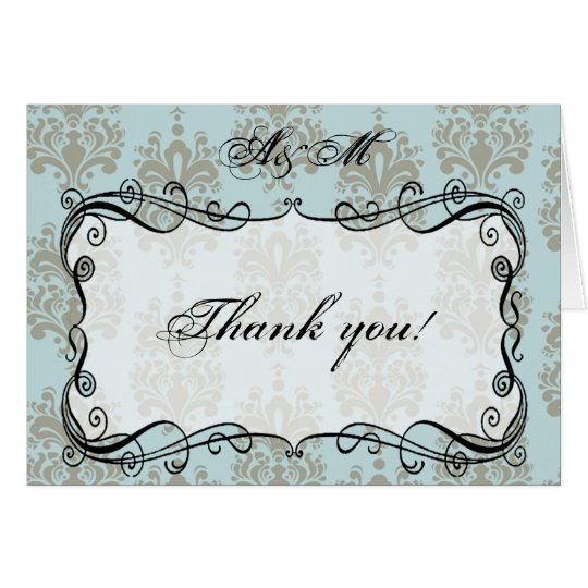 Blue & Grey Damask Monogram Thank You Card