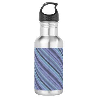Blue-grey diagonal stripes 532 ml water bottle