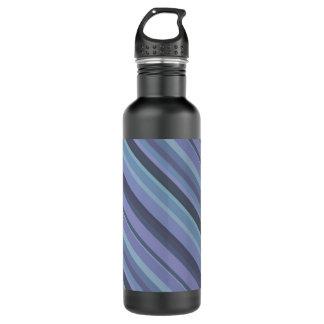 Blue-grey diagonal stripes 710 ml water bottle