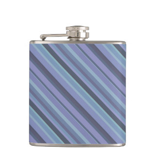 Blue-grey diagonal stripes hip flask