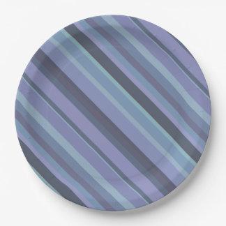 Blue-grey diagonal stripes paper plate