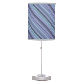 Blue-grey diagonal stripes table lamp