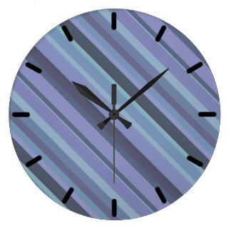 Blue-grey diagonal stripes wall clocks