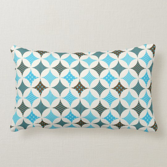 Blue Grey Diamond Circle Pattern Design Lumbar Pillow