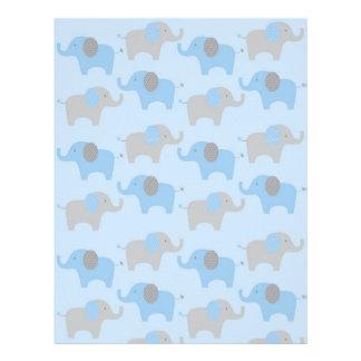 Blue Grey Elephant Baby Scrapbook Paper Letterhead Template