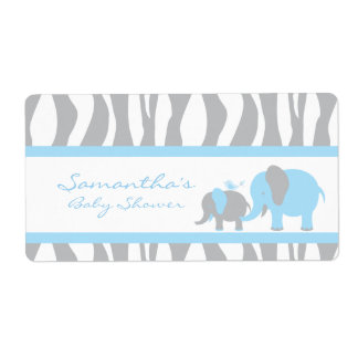 Blue & Grey Elephant Water Bottle Labels