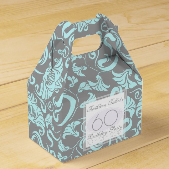Blue Grey Floral 60th Birthday Thank You Favour Party Favor Boxes
