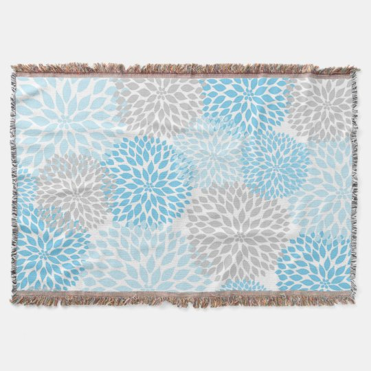 Blue Grey Floral throw / baby nursery decor