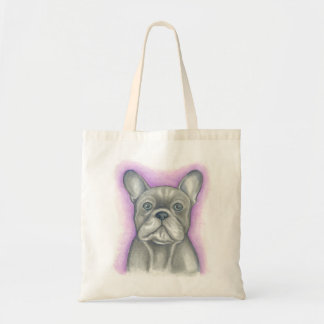 Blue-grey French Bulldog with purple tote