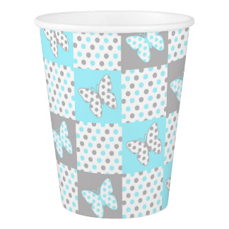 Blue Grey Gray Butterfly Polka Dot Quilt Pattern Paper Cup
