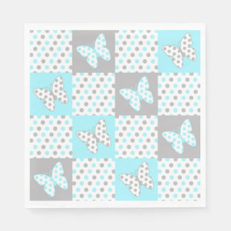 Blue Grey Gray Butterfly Polka Dot Quilt Pattern Paper Napkin