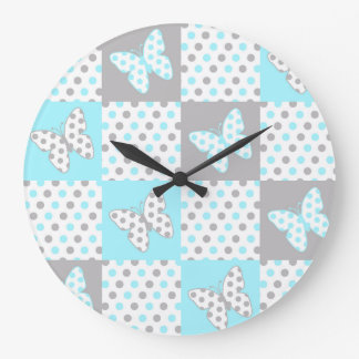 Blue Grey Gray Polka Dot Quilt Block Girl Nursery Large Clock