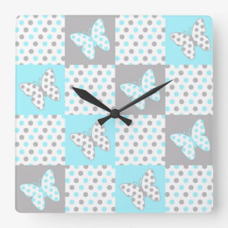 Blue Grey Gray Polka Dot Quilt Block Girl Nursery Square Wall Clock