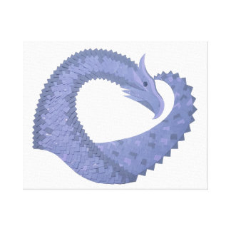 Blue-grey heart dragon on white canvas print