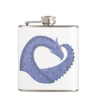 Blue-grey heart dragon on white hip flask