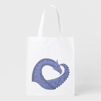 Blue-grey heart dragon on white reusable grocery bag