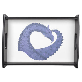 Blue-grey heart dragon on white serving tray