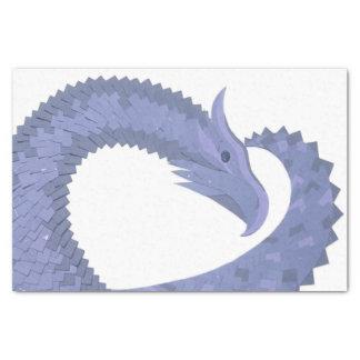 Blue-grey heart dragon on white tissue paper