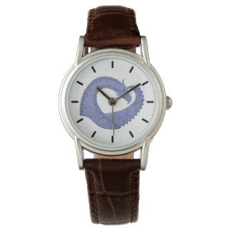 Blue-grey heart dragon on white watch