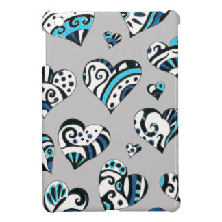 Blue grey hearts scribble iPad mini covers