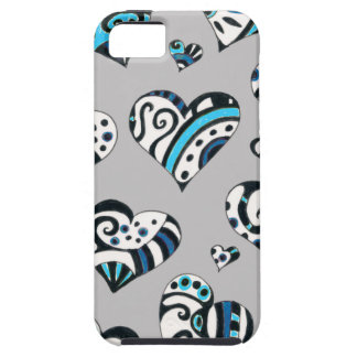 Blue grey hearts scribble iPhone 5 covers