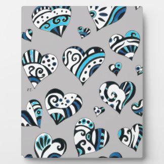 Blue grey hearts scribble plaque