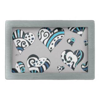 Blue grey hearts scribble rectangular belt buckles