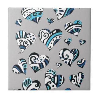 Blue grey hearts scribble tile