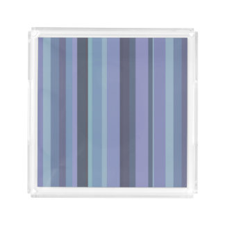 Blue-grey horizontal stripes acrylic tray