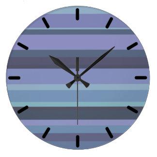 Blue-grey horizontal stripes clock